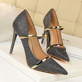 149a357e Zapatos de tacón alto para mujeres Zapatos de tacón alto con lentejuelas y  boca baja