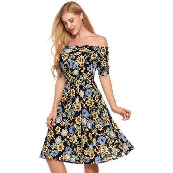 b227f5c5c Vestido Largo Manga Corta Hombro Descubierto Esrampada Floral Plisado para  Mujer - pattern