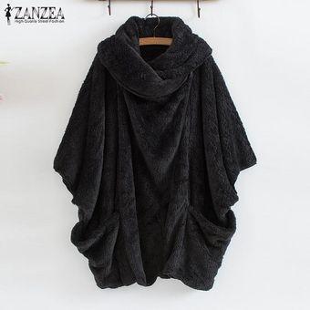 ZANZEA Mujeres Batwing paño grueso y suave capa de la chaqueta de abrigo de punto caliente Parka puente suéter Negro