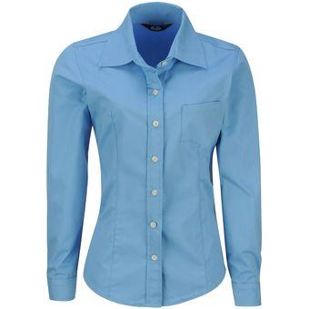 Blusa Manga Larga Polycotton Mujer Uniforme Empresarial Ejecutivo Oficina  Color-Azul Francia ad17f4186abc3