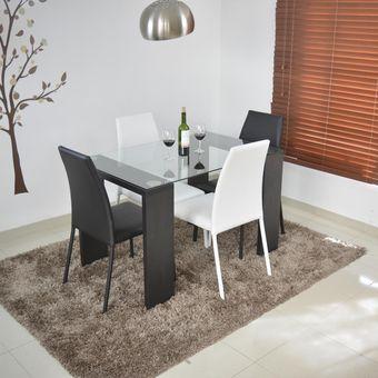 Compra comedor milan 4 puestos negro sillas 2 negro 2 for Comedor 4 puestos vidrio