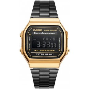 f5c1feede25e Reloj Casio Vintage Iluminador A168WEGB-1B Digital Unisex - Negro y Dorado