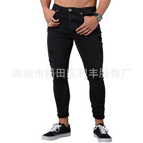 5b4c719cc68 Calida Pantalones De Mezclilla Con Agujeros Para Caballero Jeans Hombre -negro
