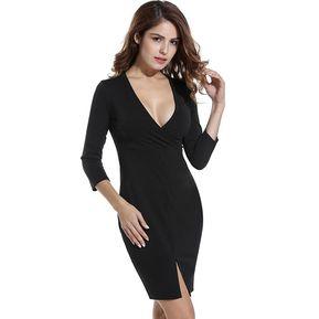 6e1a10f13b Vestido V cuello Sólido para Mujer - Negro
