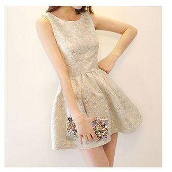 17577d996 Compra vestido sin mangas estilo elegante y hermoso de color beige ...