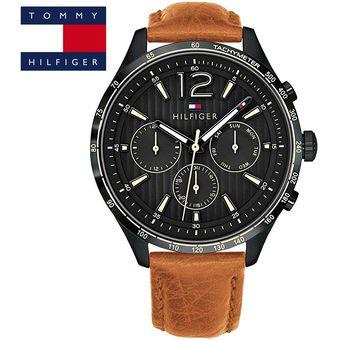 4f39cd97cd9b Agotado Reloj Tommy Hilfiger Gavin 1791470 Acero Inoxidable Correa De Cuero  - Marrón Negro
