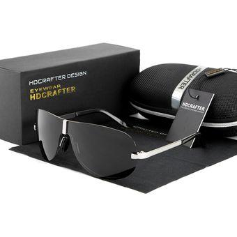 Compra Gafas Lentes Sol Polarizados HDCRAFTER 8490 Negro Plateado ... 101a32aa8e03