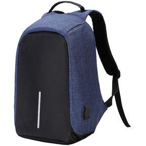 226e990a98420 Mochila Antirrobo Varios Bolsillos + Laptop Puerto Carga Usb azul