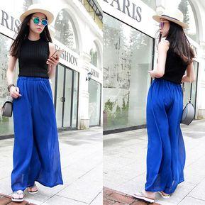 21c2a4c4ff EB Cintura Alta Falda De Gasa Sueltos Pantalones De Pierna Ancha Para  Mujer-Azul Real