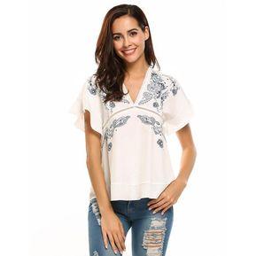9873aca7b1 Camiseta Blusa Bohemio V cuello Volante Yucheer para mujer Blanco