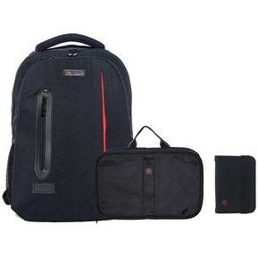 163968e19 Kit Mochila Porta Pasaporte y Neceser Organizador de Viaje
