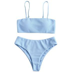 46555bd9b ZAFUL Bikini bandeau con textura de-AZUL