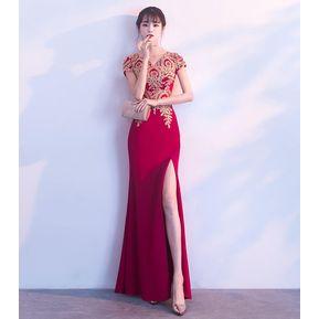 fcd84f9a8 Vestido Delgado De Cola De Pez Sexy 2018 Otoño Vestido De Fiesta-Rojo
