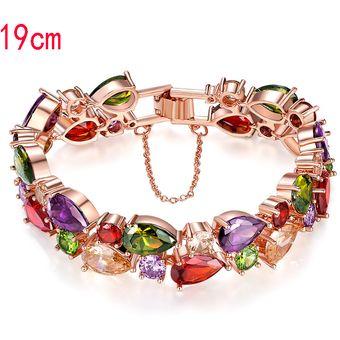 a87d9a0ede29 Compra Pulsera de circón de color Coloridas pulseras de -oro rosa ...