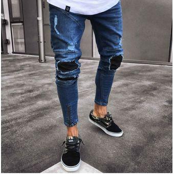 5d957f0d26b5e Agotado Moda Pantalones De Mezclilla Para Caballero Jeans Hombre-azul Oscuro