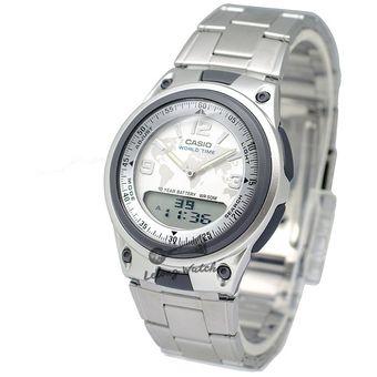 8db476fbdc81 Reloj Casio AW80D-7A2 Mapamundi Telememo 30 En Acero - Plateado Tablero  Blanco