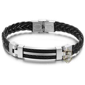 5431065295a4 Pulsera de acero inoxidable-Black Stripes