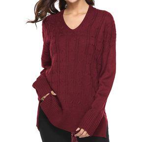 Suéter De Color Solido Y Irregular E-Thinker Para Mujer - Rojo 6a849fd9cfd4