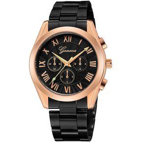 2d7bf628af32 Geneva 666 reloj acero inoxidable de negocio para hombre negro