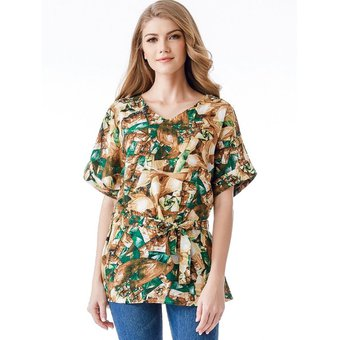 5a23012577 Agotado Impresas florales transpirable Mujer Blusa manga corta con cuello  de TOPS o camisas sueltas Verde