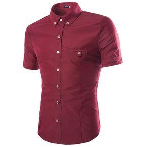 687cfbce1d Camisa De Hombre Liso Camisa De Manga Corta Con Hebilla Dorada Hombres