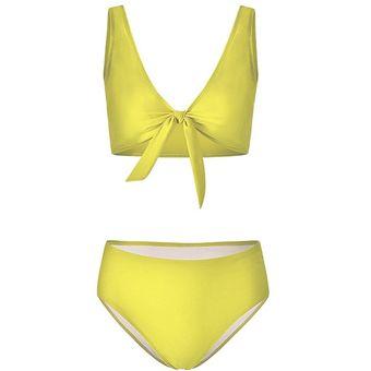 53fa86180 Compra Traje De Baño Bikini De Pecho De Moda Para Mujer - Amarillo ...