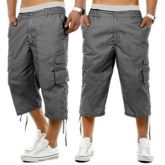 Pantalones Cortos De Tres Cuartos De Combate Cargo Cintura Elastica Casual De Longitud Larga Para Hombre 3 4 Gray Linio Colombia Ge063fa0d6yfdlco