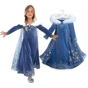 b418b9fcff Hermoso Vestidos Congelado De Princesas Para Niñas-azul