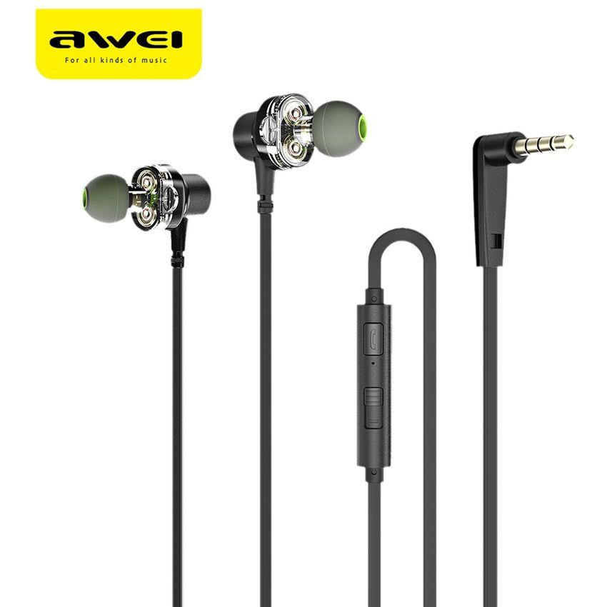 Awei Z1 Dual Drivers con cable en la oreja (Negro)