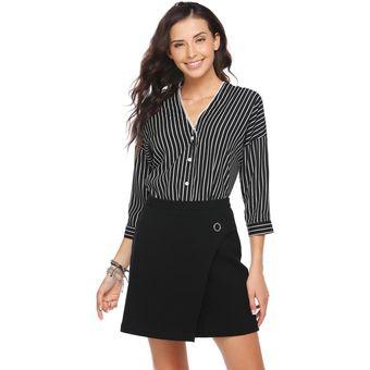 fe4f452301 Blusa De Oficina V-Cuello Profondo Casual Rayas Camisa Modern Casa Para  Mujer-negro