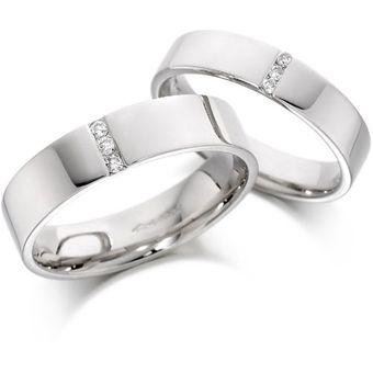 f3f9a81515be Argollas De Matrimonio Fashion Boutique De México Modelo A22 De Oro Blanco  De 14K Con 6