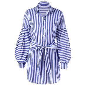 Vestido de camisa manga manga linterna a rayas con (Azul) 4fd7d1c1a456