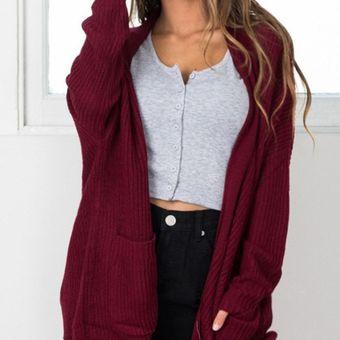 Compra Suéteres Abiertos Largo De Color Solido E-Thinker Para Mujer ... ff88c3670be9