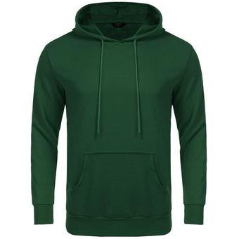 943d19f489212 Modaling Casual sudadera con capucha de largas mangas para hombre-Verde  oscuro