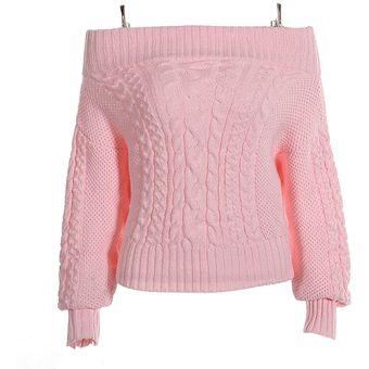 c6b099d173298 Compra Suéter De Hombro Con Manga Larga Para Mujer - Rosa online ...