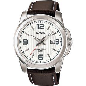 ddee2abfda0 Reloj Casio MTP1314 Piel Café Cara Blanca
