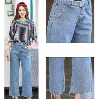 Primavera Mujer Jeans Sueltos Nueve Puntos Pantalones De Pierna Ancha Pantalones De Mezclilla Rectos Linio Peru Ge582fa0afxpclpe