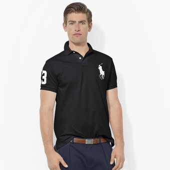 Agotado Playera Polo By Ralph Lauren Custom Fit Color Negro Con Blanco
