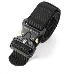 Los hombres Ajustable correa de nylon táctico militar ensanchar la cintura  con hebilla automática Negro 9fcde1c32d3