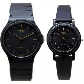 1e671702afef Pareja De Relojes Casio MQ24 Y LQ139 Caucho- Negro Con Dorado