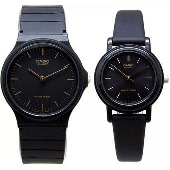 Compra Pareja De Relojes Casio MQ24 Y LQ139 Caucho- Negro Con Dorado ... a2fe391d8943