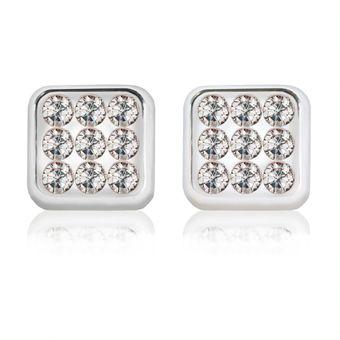 5c7afbd0edc0 Compra Aretes Broquel Oro Blanco 18K con 9 Zirconias online
