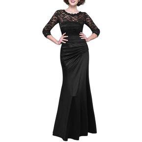 b29bc3f95 Vestidos mujer largo elegante vestido de encaje vestidos de fiesta-Negro