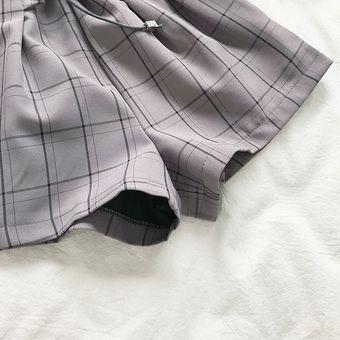 Pantalones Cortos Finos De Verano Para Mujer Ajustados Faciles De Combinar Cintura Alta Floral Encaje Para Mujer Estilo Retro A Cuadros Elasticos A La Moda Elegantes Y Simples Gray Linio Peru