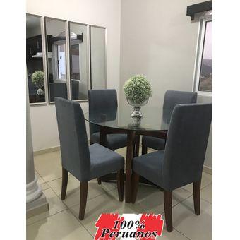 Comedor Amaretto + 4 sillas tapizadas en dubai gris