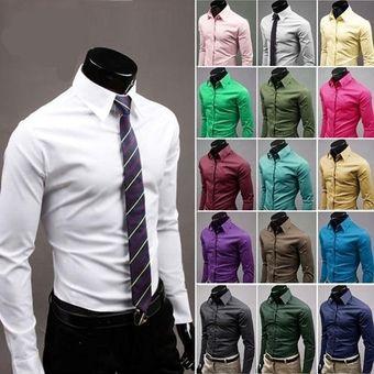 f5d1c4ed Compra Hombres Camisa De Vestir Casual Slim Business Uniform-Azul ...