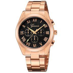 86c554579427 Geneva 666 reloj acero inoxidable de negocio para hombre oro rosa