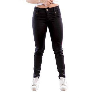 035fe0bd4 Jean Color Negro Bocared Para Dama Clasico Imitacion Bolsillos En De Black