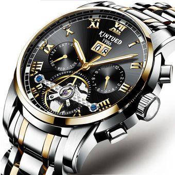 29eea979bb09 Compra Reloj KINYUED J014G Reloj Mecánico De Moda Hombre Oro Negro ...