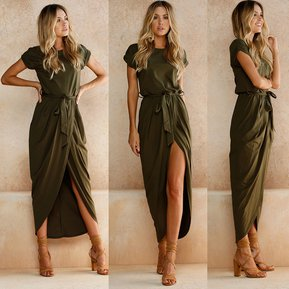 Vestidos cortos con faldon largo